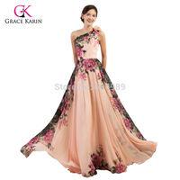 Gracia Karin nueva colección de un hombro gasa largo barato formal Vestidos de noche vestido estampado de flores una línea vestidos Longo 7504