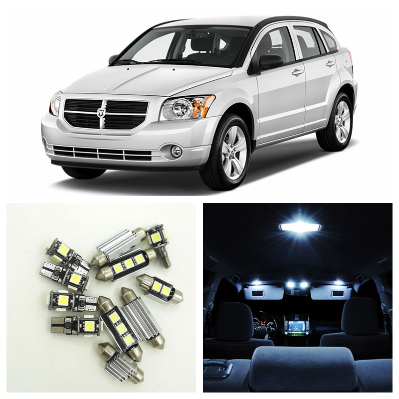 10pcs Canbus Xenon White Car LED Light Bulbs Interior Package Kit For 2007-2012 Dodge Caliber Map Dome Trunk License Plate Lamp