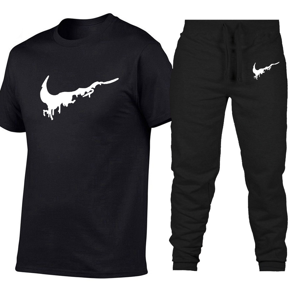 2019 New Brand Sets Men   T     Shirts  +pants Two Pieces Sets Casual Tracksuit Male/Female Casual Tshirt Gyms Fitness trousers men Sets