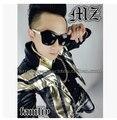 Горячая распродажа! новый мужской певица костюмы DJ права Bigbang чжи длинные GD стиль бледное золото кожа черный шить пальто куртки