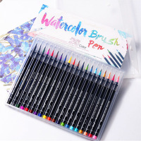 1Set 20Colors Water Color Marker Pen Painting Brush Calligraphy Drawing Supplies Manga Cartooning Accessories