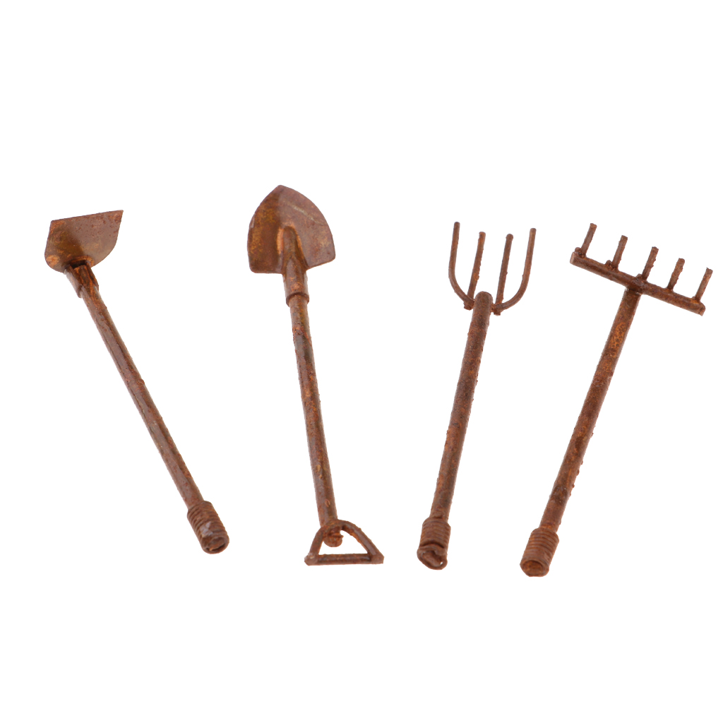 1:12 Dollhouse Miniature Accessories Gardening Planting Tools Kit Red