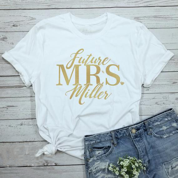 3570d34a0 Custom Future Mrs t shirt gold bride tee glitter engagement gift wedding  bachelorette party shirts fashion funny team bride tops-in T-Shirts from  Women's ...