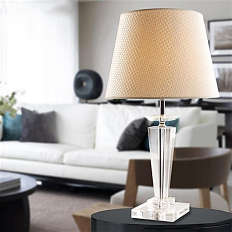 European crystal table lamp bedside bedroom desk lamp luxurious K9 crystal living room cloth lamp