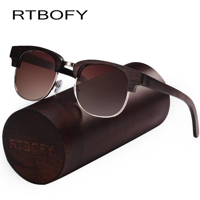 fc86a8e134 RTBOFY Wood Sunglasses Men and Women Bamboo Frame Glasses Handmade Wooden  Eyeglasses Vintage Design Shades