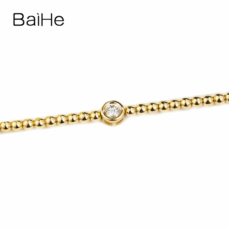 BAIHE Solid 14K Yellow Gold 0.15ct Certified H/SI Round 100% Genuine Natural Diamond Engagement Women Trendy Jewelry Bracelet trendy letter heart round rhinestone bracelet for women