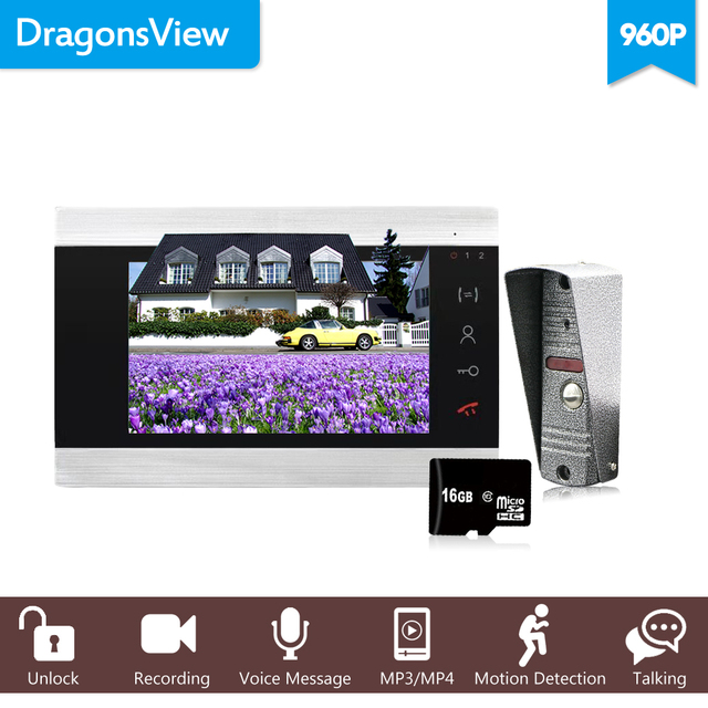 "Dragonsview  960P Wired 7"" AHD HD Video Door Phone Video Intercom Doorbell System SD Card Supported Dual Way Talk Unlock Button"