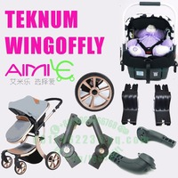 teknum aimile cart poussette wing of fly baby stroller armrest front rear wheel connect plastic replace part car seat adparter