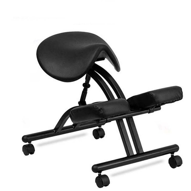 modern ergonomic kneeling chair with black saddle seat and casters