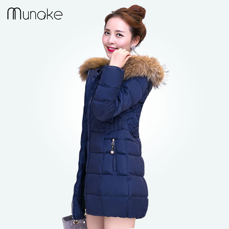 ФОТО 2016 Women Winter Jacket Warm Thicken Long Cotton Down Parkas Fur Collar Hooded Plus Size Down Jackets Zipper Parka Coats