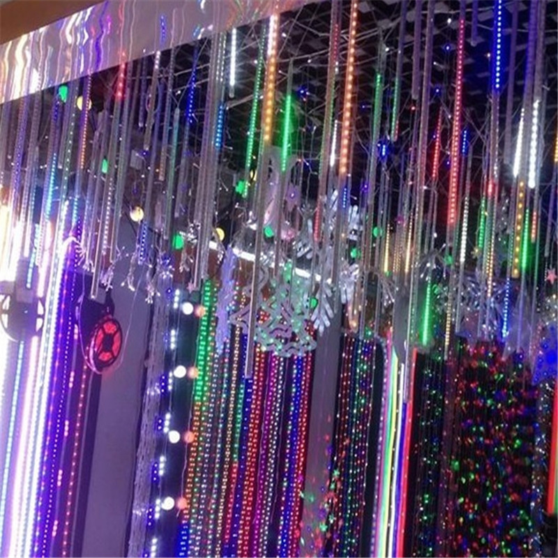 waterproof led christmas lights 8pcsset snowfall tube 50cm meteor rain led tube light 100