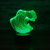 7 Color Changing LED 3D Humongous Wave Modelling Table Lamp Kids Touch USB Surfing NightLight Sleep
