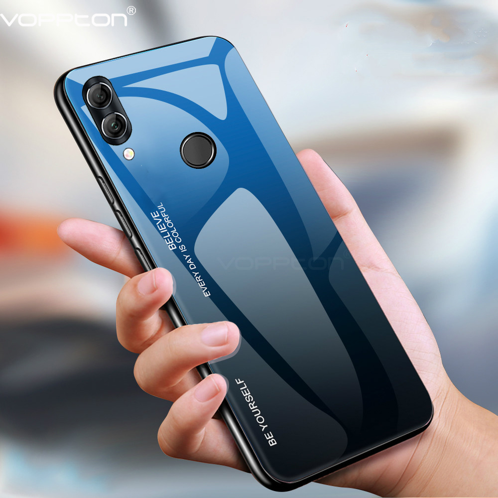 For Huawei P Smart 2019 Case Gradient Tempered Glass Hard Case Soft TPU Silicone Frame Cover for Honor 10 lite 10i P Smart Z iphone 6 plus kılıf