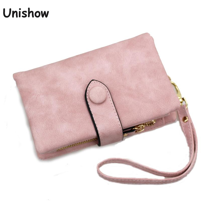 Unishow Wallet For Women Trifold Small Female Purse Scrub Leather Women Wallet Short Soild Zipper Coin Purse Card Holders