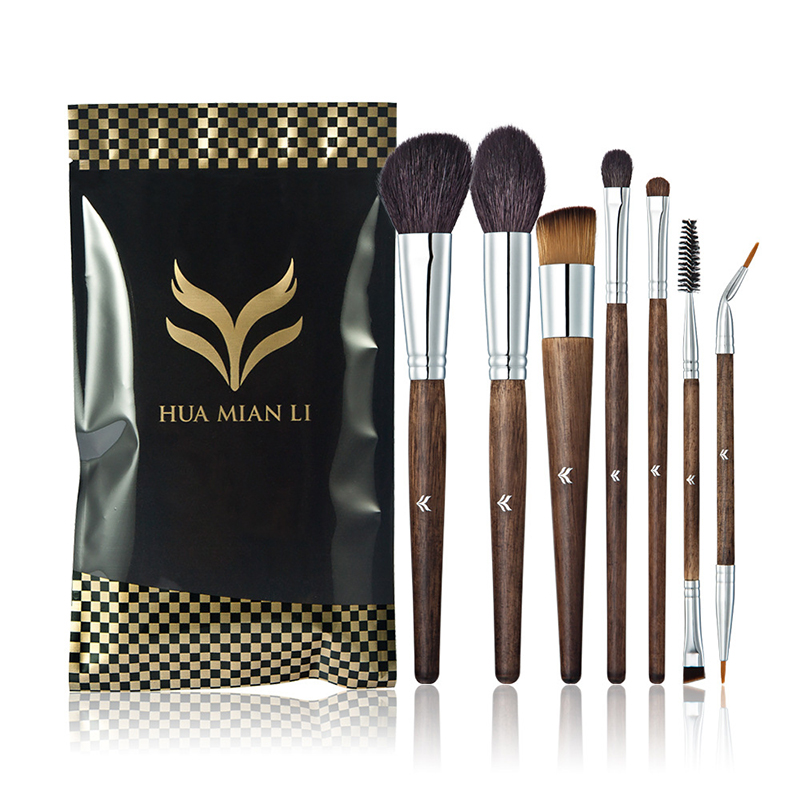 Huamianli 7Pcs Makeup Brush Set Natural Super Soft Red Goat Hair Beauty Makeup Brushes Eyebrow Lip EyeLash Brush Cosmetic