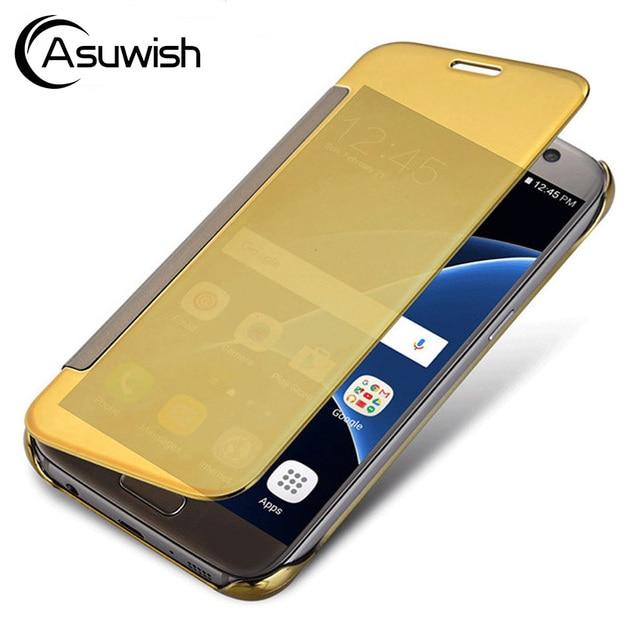 e8c535562fa Flip Cover Clear View Phone Case For Samsung Galaxy S7 Edge S 7 7edge S7edge  GalaxyS7