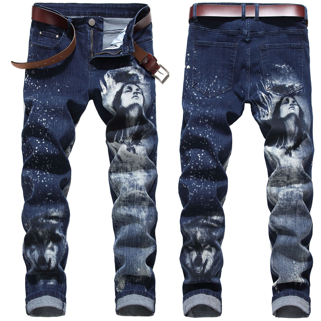 Hip Joggers Pants 2019 New   Men's New Fashion 3D Personality Slim Color Print Stretch Denim Trousers 25 Dropshipping