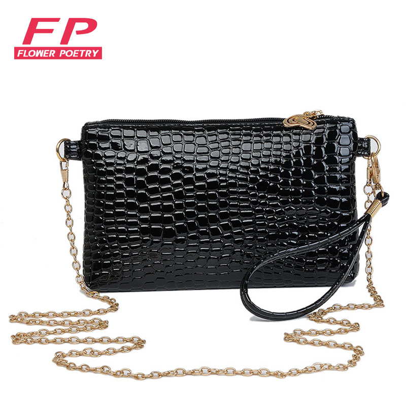 Women Simple Style PU Leather Chain Small Shoulder Bag Black Crocodile Clutch Pouch Bags Ladie Evening Party Handbags Bolsos g 3pcs set quick change hex shank larger titanium coated m2 tool step drill bit set 71960 t