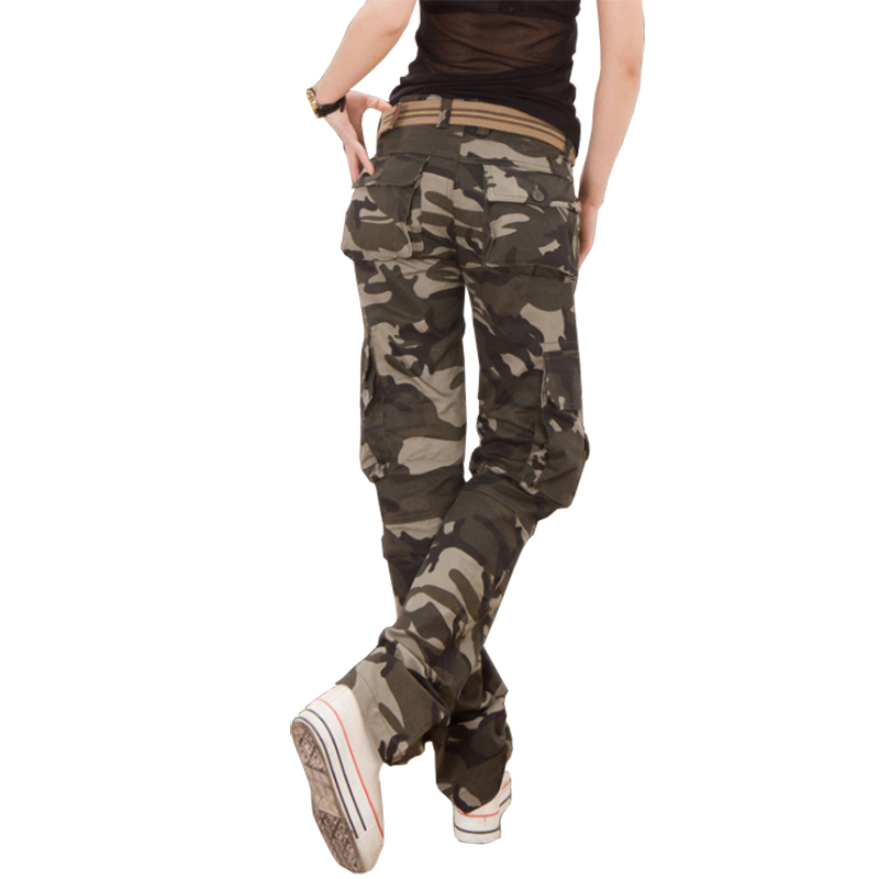 Casual Women Camouflage Pants Tactical Camo Cargo Pants Women Military Fashion Loose Baggy Pants Multi-Pocket Long Trousers camouflage pants for women