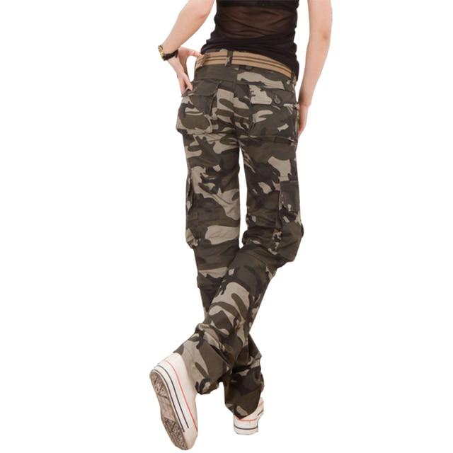 5cbafaf7102c8 Casual Women Camouflage Pants Tactical Camo Cargo Pants Women Military  Fashion Loose Baggy Pants Multi-Pocket Long Trousers