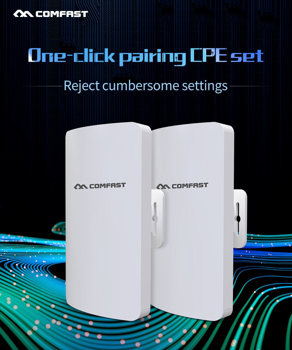 2pcs 300Mbps 5.8Ghz Outdoor Wireless AP Bridge 3KM WIFI CPE Access Point 12dBi WI-FI Antenna Nanostation CPE COMFAST CF-E113A
