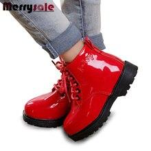 Непромокаемые осень/зима мартин версии корейской кожаные сапоги детская мужчин детей обувь