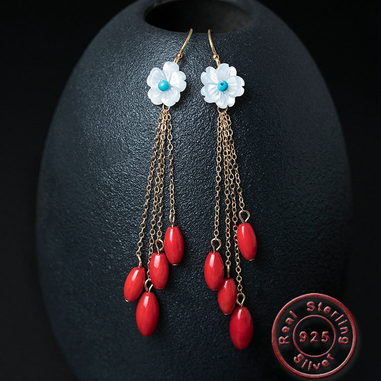Amxiu Handmade Long Tassel Earrings Natural Shell 925 Sterling Silver Jewelry Red Pendants Flower Earrings For Women Accessories
