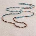 Vintage Beaded Necklaces Natural Picture Jasper & Turquoise & Mother Pearl Chain Bracelet Women Men Long Choker Bib Chain
