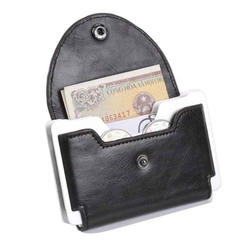 Anti-theft card holder metal crazy horse PU credit card holder Porte ordering wallet men id card holder Mini Wallet