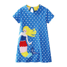 цена на Girls Dress Summer Style Print Cotton Children's Short Sleeve Clothes Cartoon Baby Costume Baby Girl Vestidos