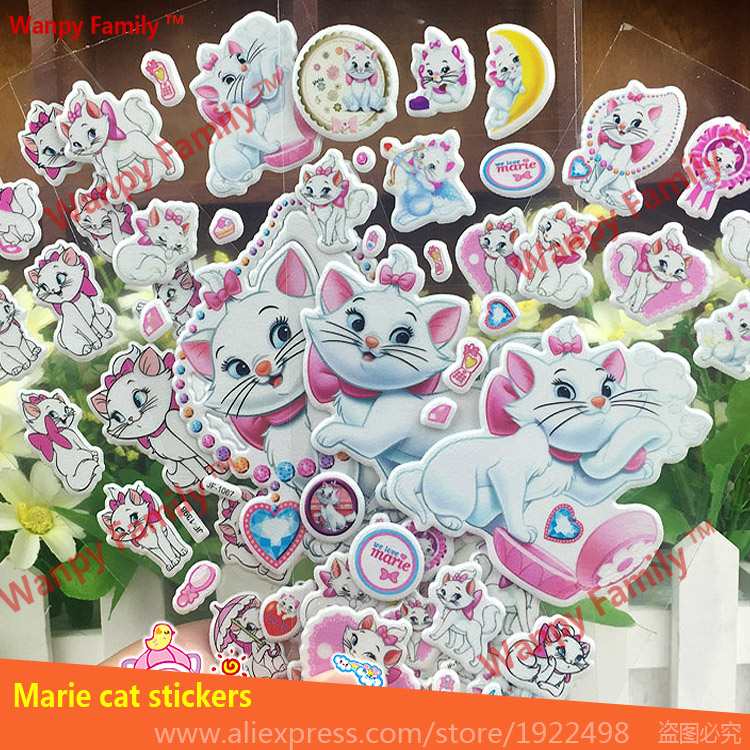 Noble Mary Cats Bubble Sticker Very Nice Mary Cat DIY Mini Stickers For Children's Birthday Gift Decor Stickers