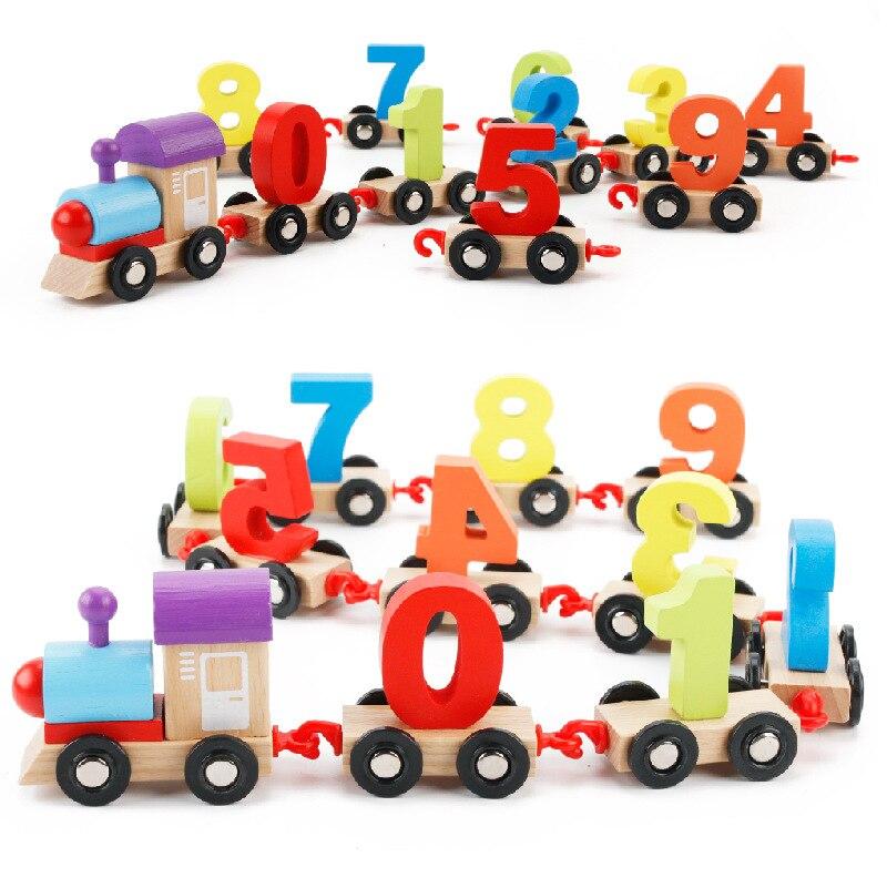 Обучения Образование игрушки красочные цифровой количество деревянный поезд Монтессори Математика игрушки игра для детей Модель Строител...