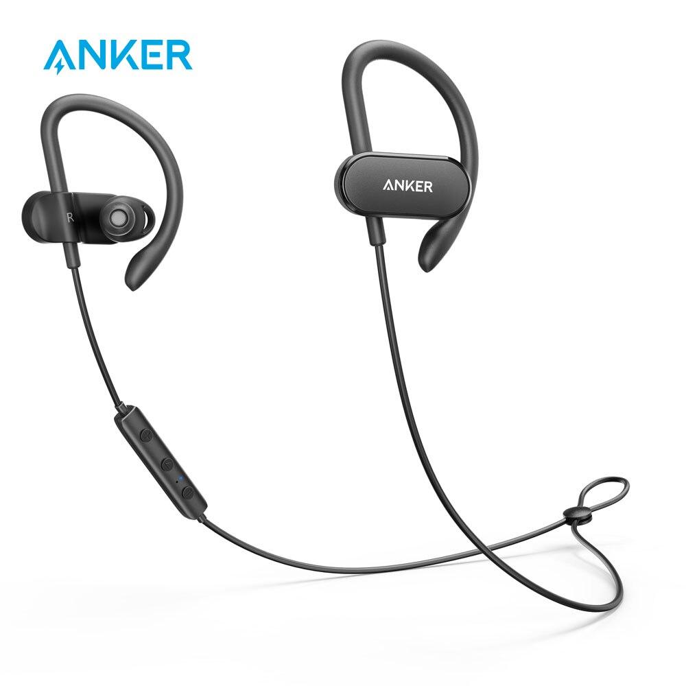 Écouteurs sans fil courbe Anker soundbud Bluetooth 4.1 écouteurs de sport avec 12.5 H IPX5 casque d'entraînement étanche pochette de transport