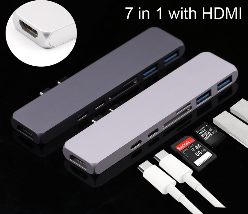 Dual USB 3.1 Type C to USB 3.0 + 4K HDMI Video + SD TF Card Reader with Charging Port USB HUB Adapter Splitter For MacBook Pro type c to 4k hdmi tv video adapter converter microsd tf sdhc sd card reader usb 3 0 hub for macbook for mac notebook computer