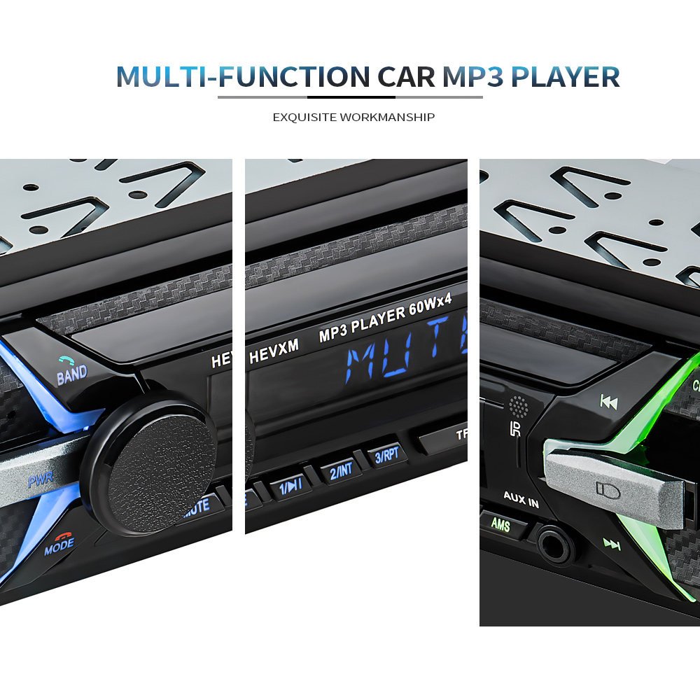 HEVXM 12V Bluetooth 1Din Multi Function Autoradio Stereo Radio FM SD USB AUX Input Receiver Car MP3 Multimedia player 1010 in Car MP3 Players from Automobiles Motorcycles