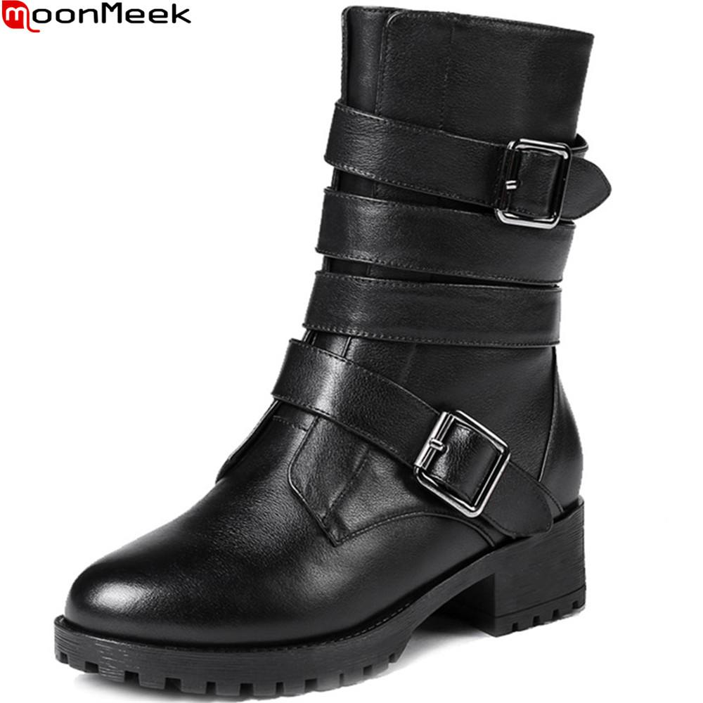 MoonMeek black fashion winter women boots zipper genuine leather square heel round toe cow leather buckle ankle boots memunia fashion women boots round toe genuine leather boots zipper square heel wool keep warm cow leather mid calf boots