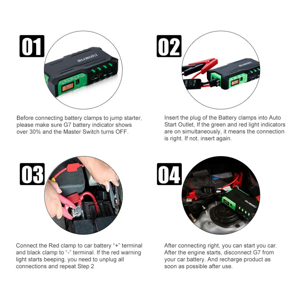 Suaoki G7 Plus 18000mAh Car Jump Starter Smart Clamp Battery