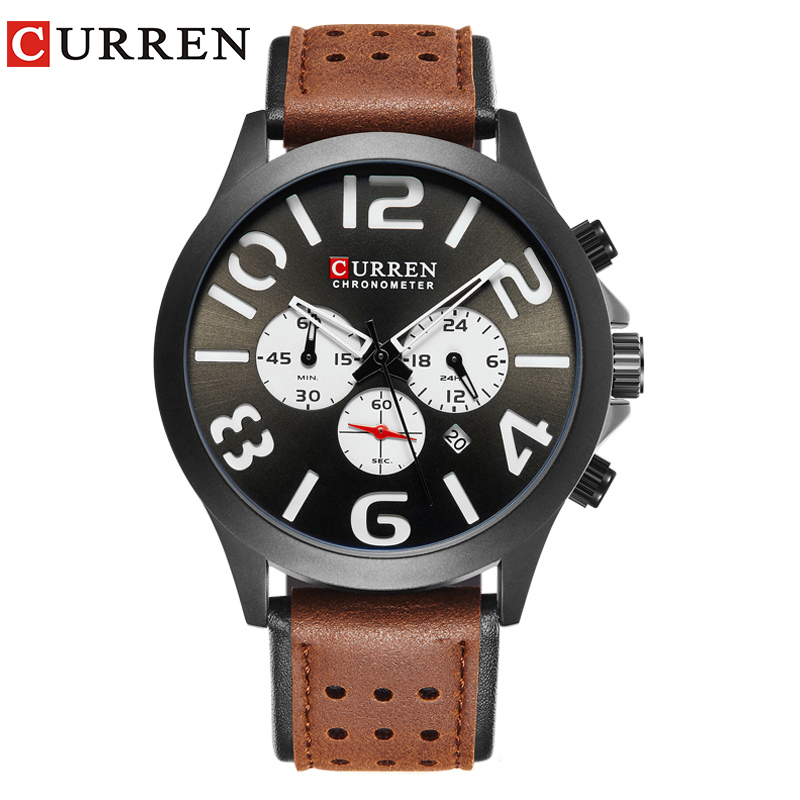 CURREN 8244 New2017 Brand Luxury Sports Chronograph Quartz Men Watches Fashion Casual Wristwatches For Leather Relogio Masculino