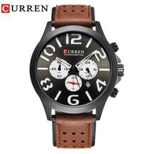 CURREN 8244 New2017 Deportes Cronógrafo de Cuarzo de Los Hombres Relojes de Marca de Lujo Relogio masculino Moda Casual Relojes de pulsera De Cuero