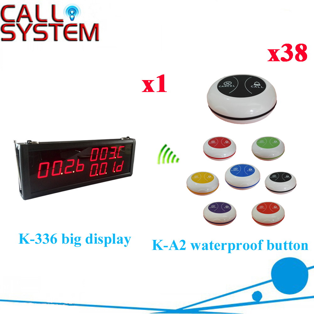 Wireless Waiter Calling System Best Price For Restaurant Pager With 433.92MHZ Full Equipment( 1 display+38 call button ) wireless waiter service pager call system for restaurant equipment with 1pcs display receiver