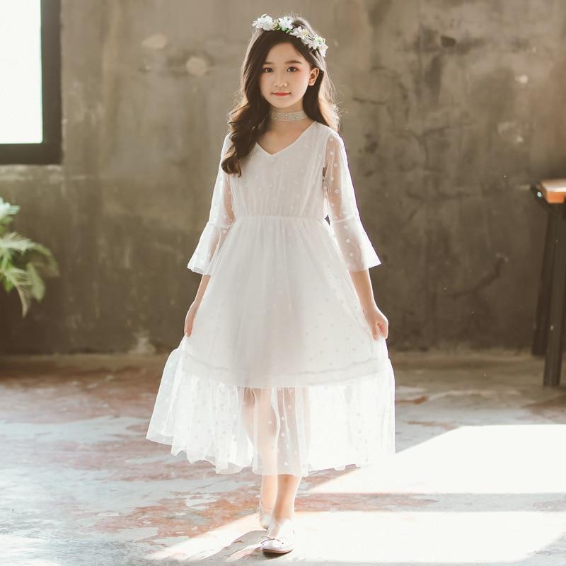 Girls Dress New 2019 Kids Clothes Summer Girls White Princess Dress Girl Floral Teenager Maxi Dress V neck Mother Daughter