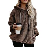 2018 Autumn Winter Warm Hoodie Faux Fur Fluffy Flannel Women Sweatshirts Oversize Casual Hooded Hoodies Female Pullover