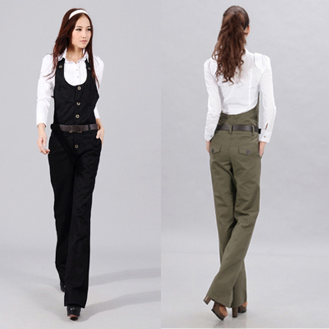 Free Shipping 2018 New Bib Pants Jumpsuit And Rompers Wide Leg Straight Women Trousers Formal Ol ...