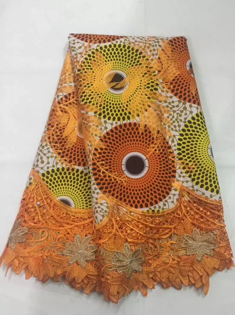 Latest african lace ankara wax with cord lace embroidered lace wax fabrics Nigerian lace fabrics for garment