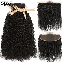 Curly-Bundles Weaving Frontal Hai Human-Hair Malaysian Styleicon with Non-Remy
