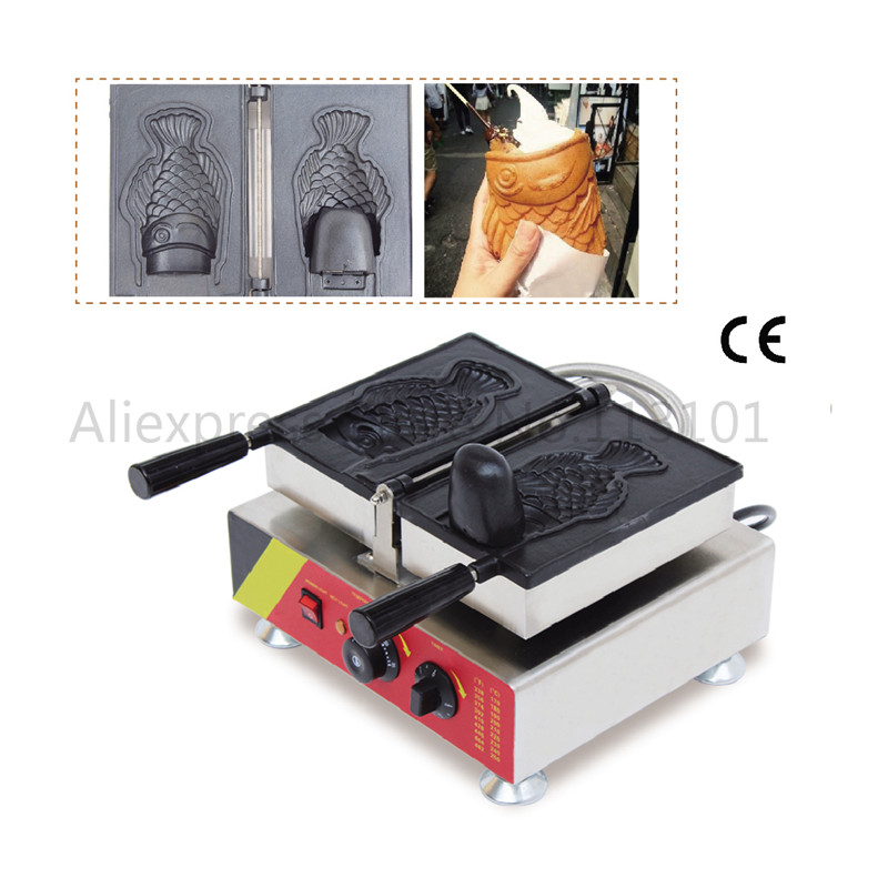 Fish-shaped Waffle Machine Korean Style Taiyaki Ice Cream Cone Maker Single Mould Open-mounth Fish Waffle Street Snack Machine taiyaki maker with ice cream filling taiyaki machine for sale ice cream filling to fish shaped cake fish cake maker