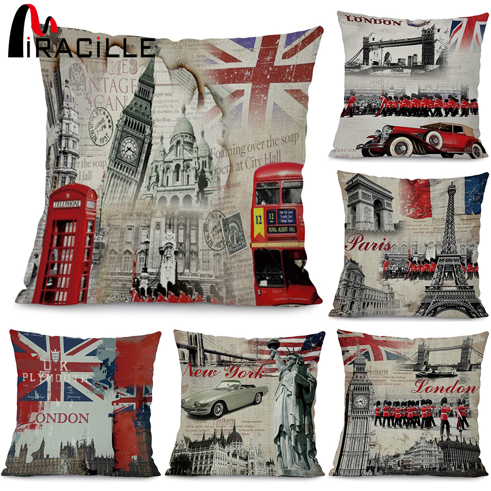 Miracille Fashion European Decorative Cushions London Style Throw Pillows Car Home Decor Cushion No Filling Decor Cojines