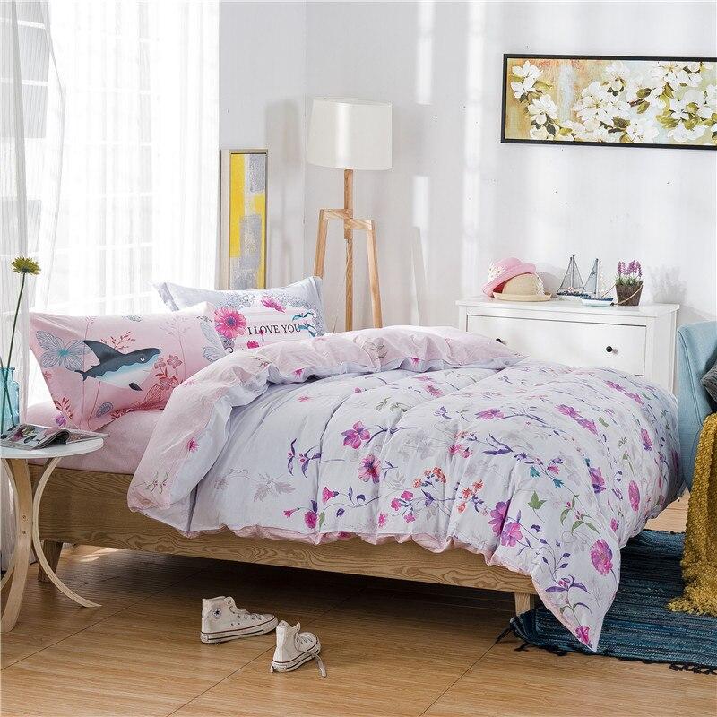 fresh garden little flowers white bedding sets linens cotton - Queen Size Duvet Cover