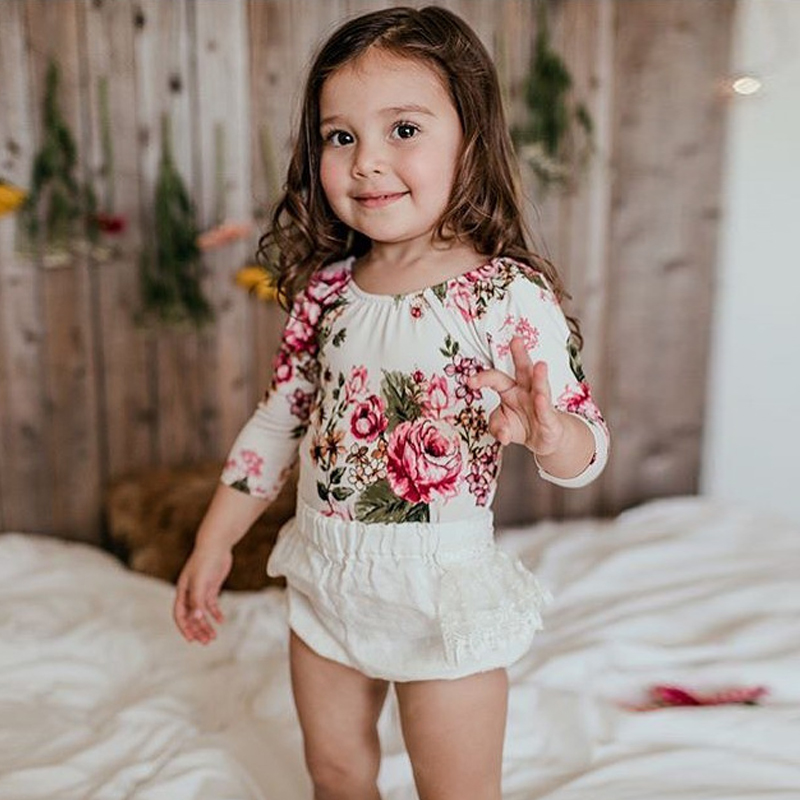 2017 New Spring Autumn Newborn Baby Clothes Rompers Girl Floral Print Romper Long Sleeve Cotton Baby Sleeper Baby Girl Clothes