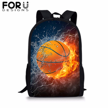 FORUDESIGNS Fire Basketball School Bag Backpack for Boys Kids Rucksack Cool 3D Printing Bookbag Student Satchel Daypack Mochila